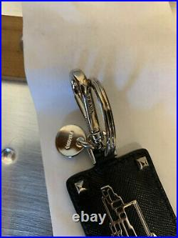 Prada Men's Key Chain Black Saffiano Leather Metal Building Emblem & Box Italy