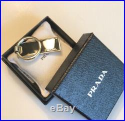 Prada Portachiavi Black Rectangle Enameled Key Chain 2PS021