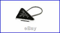 Prada Portachiavi Smalto Black Enameled Metal Triangle Logo Key Ring 2PS395