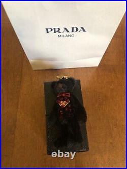 Prada Red Swarovski Crystal Bear Charm Key Ring Key Chain Bag Charm