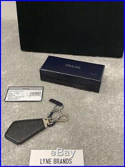 Prada Saffiano Leather Logo Black KeyRing Metal KeyHolder Sold Out