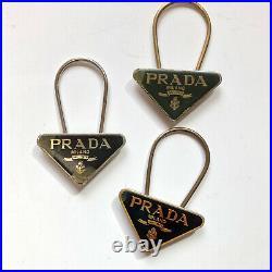 Prada Triangle Logo Keyring Key Holder Black Yellow Silver Lots of 6 Authentic