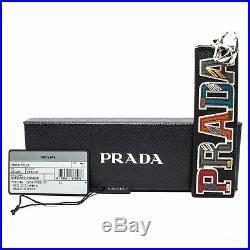 Prada Trick in Pelle Saffiano Black Leather Multicolored Key Chain 2TL254