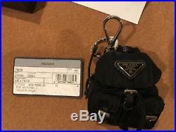 Prada Vela Black Nylon Backpack Shaped Handbag Charm Key Chain New Box Card $280