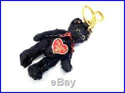 Prada teddy bear key chain charm heart logo plate black color used
