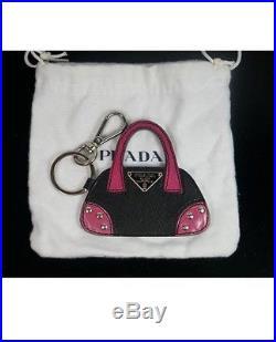 Pre-loved authentic PRADA black/pink PURSE handbag key fob bag charm $350