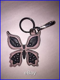 Pre-loved authentic PRADA saffiano leather BUTTERFLY bag charm KEYFOB black/pink