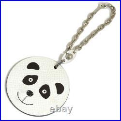 Pre-owned Authentic Hermes Bag Charm Key Chain Panda White X black F/S