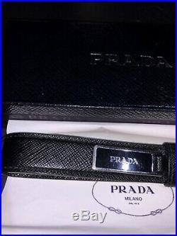 RARE Authentic PRADA Black Saffiano Leather Key Chain Ring Strap