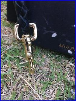 RARE MULBERRY for GILES Bag Charm Mace Keychain Brass Spikes Studs Black Leather