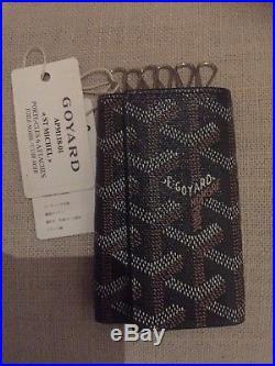 RARE St Michel GOYARD Herringbone Canvas Black Leather Design 6-Row Key Case