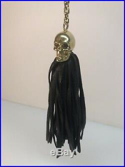 Rare Alexander McQueen Skull Black Leather Tassel Keychain