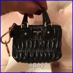 Rare Authentic Prada Black Leather Mini Handbag Keychain
