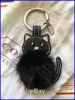 Rare! COACH Leather and Mink Black Cat Kitten Key Fob Key Chain Bag Charm 92945