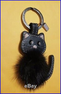 Rare Hard To Find Coach Black Mink Cat Key Ring