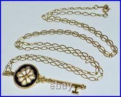 Rare Lge Vintage TIFFANY & Co 18Kt Y/Gold Black Enamel Knot Key Pendant On Chain