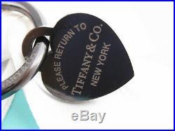 Rare Tiffany & Co Black Titanium Return To Keychain Key Ring Chain