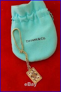 Rare Tiffany & Co. QUEEN of HEARTS 14k Gold Enamel Key Chain Vintage Keychain