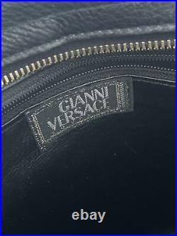 Rare Vtg Gianni Versace Black Gold Medusa Greek Key Chain Bag