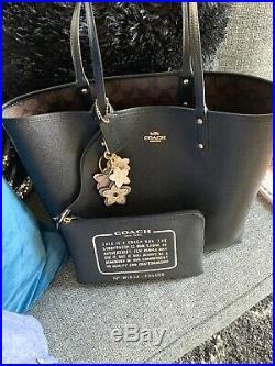 Reversible Coach Tote Purse Bag /Coach Key Chain Flower Charm Black