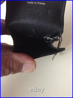SA AUTHENTIC Louis Vuitton Key Pouch in black epi silver keychain Card Holder