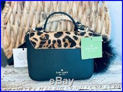 SET OF 2 Kate Spade CAT Leopard mini Janine Calf Hair Crossbody + Pom keychain