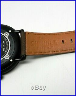 SHINOLA 43mm Canfield Bolt Men's Black PVD Watch USA Detroit Made With Key Chain