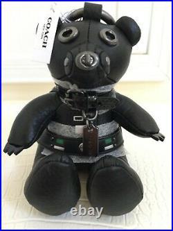 STAR WARS x COACH Limited Darth Vader Bear Bag Charm Leather Black Key Ring NEW