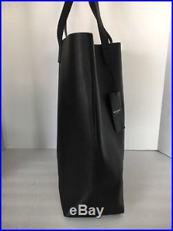Saint Laurent Black Leather Large Unisex Shopper Tote & Wallet Keychain Ring