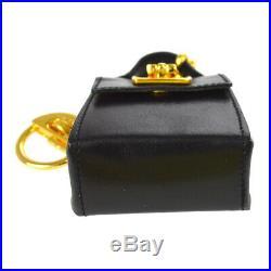 Salvatore Ferragamo Gancini Bag Key Chains Leather Black Italy 225641 AK34126f