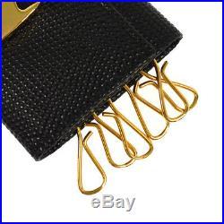 Salvatore Ferragamo Vintage Vara Six Hooks Key Case Black Leather AK35525f