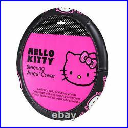 Sanrio Hello Kitty Collage Car Truck Floor Mats Steering Wheel Cover & Keychain