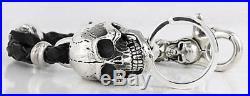 Skull 925 Sterling Silver Real Leather Men's Key Chain Wallet Belt Holder Biker