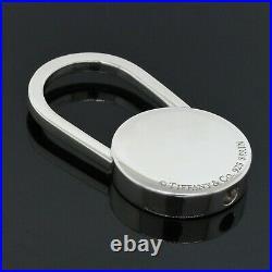 Tiffany & Co. 925 Sterling Silver Wall Street Black Enamel Key Chain Ring Holder