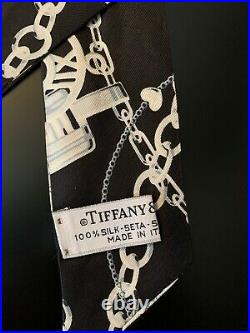 Tiffany & Co Black Return To Silk Twilly Scarf- Made in Italy