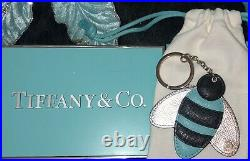 Tiffany Co Leather Keychain Bumblebee Purse Charm Blue Black Rare Pouch NEW