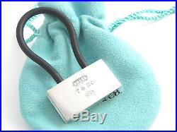 Tiffany & Co NEW RARE Silver 1837 Padlock Black Rubber Key Ring Chain Keychain