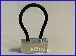 Tiffany & Co RARE Silver 1837 Padlock Black Rubber Key Ring Chain Keychain