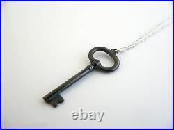 Tiffany & Co Silver Oval Black Titanium Key Necklace Pendant Chain Gift Love