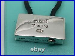 Tiffany & Co Sterling Silver 1837 Padlock Black Rubber Key Ring Chain Keychain