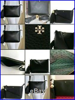 Tory Burch Tassel C-bodyblack Leather + Bonus Mercer Keychainbnwt Value$313