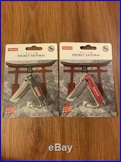 Two Supreme StatGear Pocket Samurai Knives Keychain Red/black Stainless Steel