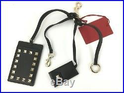 VALENTINO GARAVANI Rockstud Keychain Card Holder Black Leather