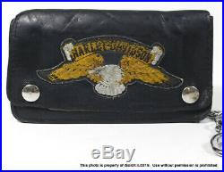 VINTAGE BIKER CHAIN Black Leather WALLET With OLD SCHOOL KEY FOB