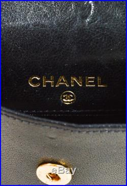 VINTAGE Chanel Black Leather Gold Tone Chain Link'CC' Coin Purse Keychain