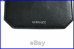 Versace 100% Leather Black Keychain Unisex Id Case