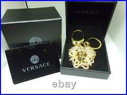 Versace Double Key Ring Charm Key Chain Medusa Gold/Black Original New
