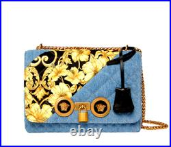 Versace Small Icon Barocco Quilted Denim Medusa Shoulder Chain Bag $1,950.00