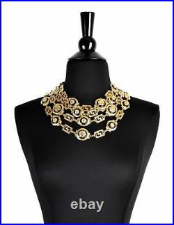 Versace Vintage Gold and Black Four Row Medusa and Greek Key Chain Necklace