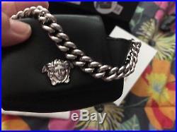 Versace key chain, Medusa, Black Leather, Silver tone